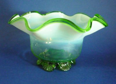 Stourbridge Green Opalescent Glass Bowl c1890